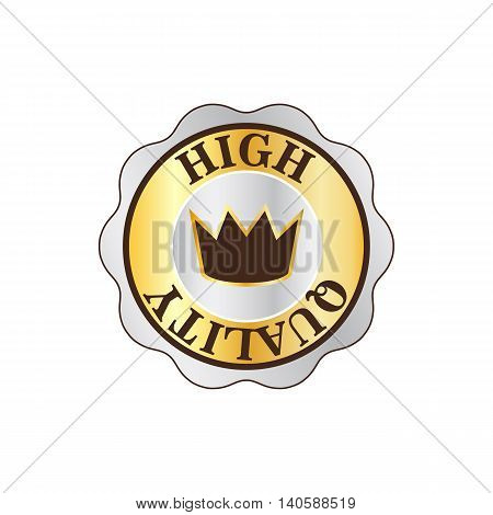 High quality golden label with crown icon in flat style on a white background