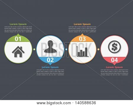Process chart template with circles, flowchart or workflow with four elements, steps or options, business infographics, vector eps10 illustration