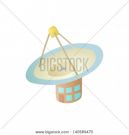 Satellite communication station icon in cartoon style on a white background