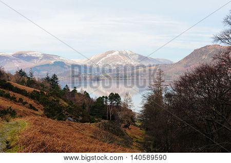 View of Derwentwater from the minor road running along the eastern shore of the lake Borrowdale Cumbria