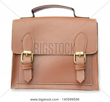 Brown accessory bag isolated on white background