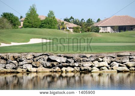 Golf Shot On Lake