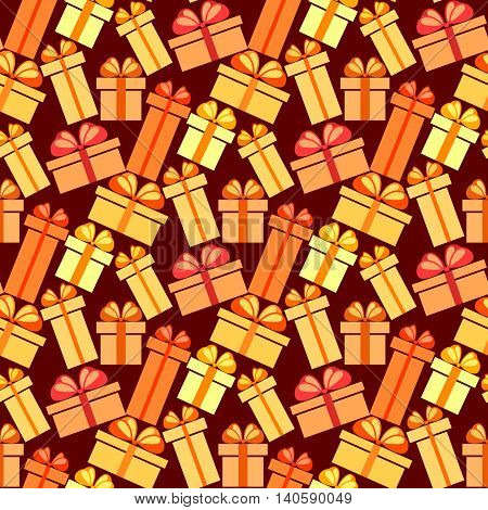 Gift boxes seamless pattern. Pattern for fabric print, wrapping or packaging paper design. Red, orange, yellow colorful boxes with ribbon and bow on ldark background. Vector illustration stock vector.