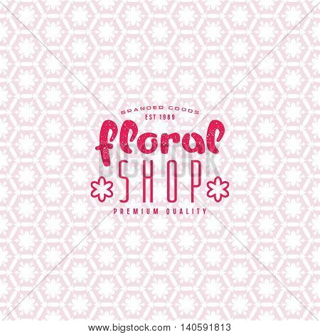 Floral Seamless Pattern And Shop Label