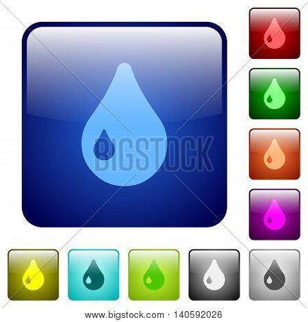 Set of drop color glass rounded square buttons