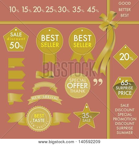 Vector element design set of golden commercial labels and ribbon templates on best seller concept. This vector file is organized in layers to separate Graphic elements from Text label and background color.