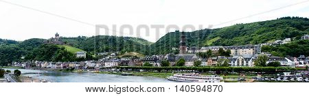 Cochem Germany - July 17 2016: Panorama of Mosel river and Cochem city in Germany.