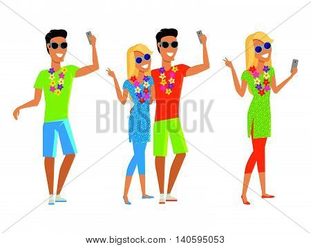 Summer vacation selfie concept. Honeymoon in exotic countries vector illustration. Peoples with a necklace of flowers take pictures on journey. Flat style design. Isolated on white.