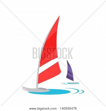 Windsurfing conceptual vector. Flat style design. Active vacation on tropical sunny seaside. Water sport and entertainment. Swimming and windsurfing on the coast Isolated on white background.