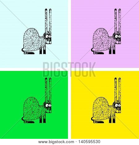 vector illustration with rabbit, hand drawn, colourfull