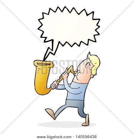 cartoon man blowing saxophone with speech bubble