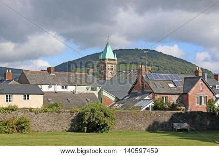Abergavenny town in the Brecon Beacons, Wales