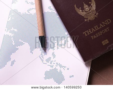 business set of thailand passport and map in concept travel notebook