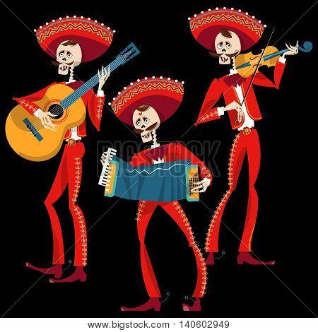 Dia de Muertos. Mariachi band of skeletons. Mexican tradition. Vector illustration