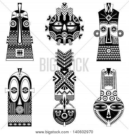 Set of african masks of diferent shapes. Vector illustration