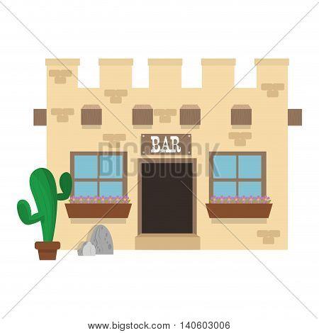 flat design old west bar icon vector illustration