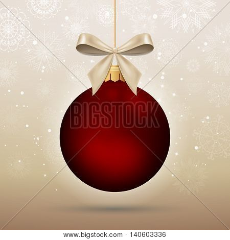 Vector Illustration of a Decorative Christmas Bauble with Snowflakes