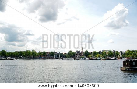 Landscape: City view from Binnen-IJ, Amsterdam Centre