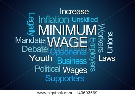 Minimum Wage Word Cloud on Blue Background