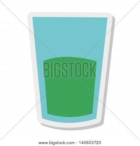 flat design cup of glass with liquid icon vector illustration