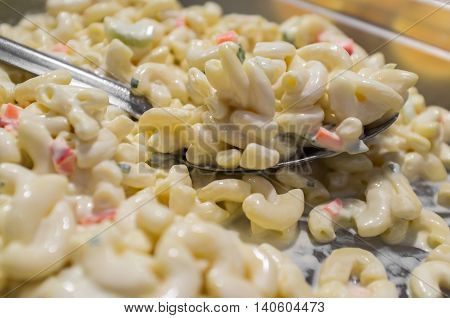 Self serve creamy macaroni salad at local buffet