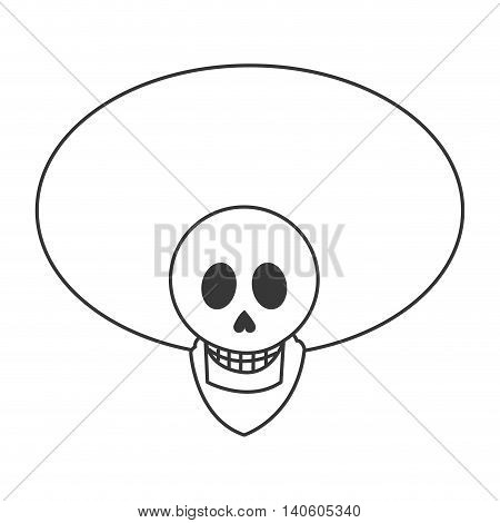 flat design skull with mexican hat icon vector illustration