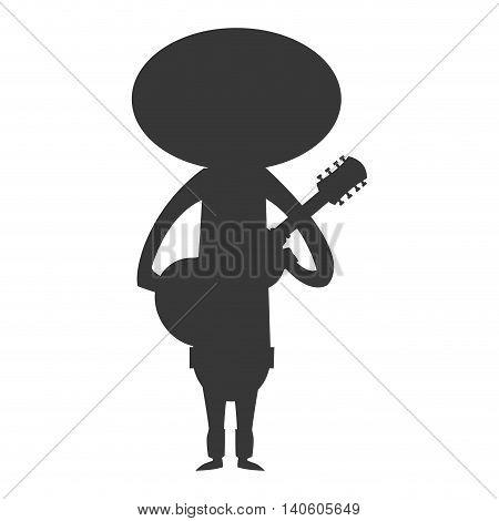 flat design mariachi musician icon vector illustration silhouette