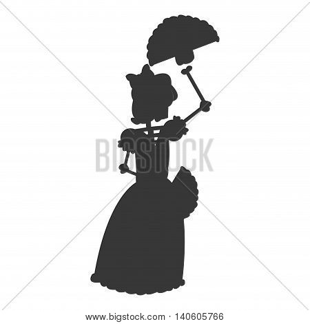 flat design skeleton woman dancing icon vector illustration silhouette