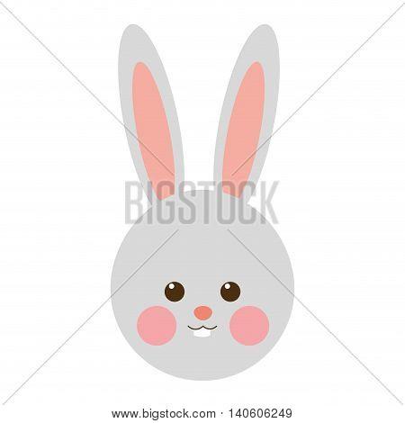 flat design rabbit cartoon icon vector illustration