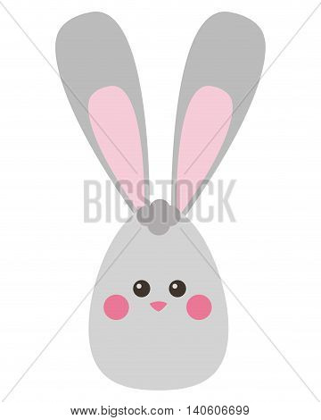 flat design easter bunny with egg icon vector illustration