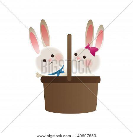 flat design basket with cartoon rabbits icon vector illustration