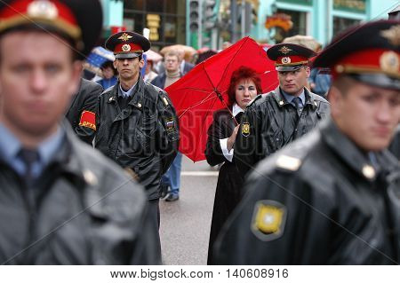 Moscow, Russia - May, 9, 2010: police men in a center of Moscow, Russia