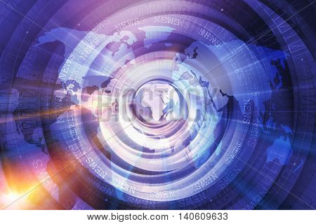 Graphical Digital World News Studio Background Modern Digital World with Binary Code Numbers Background.Growing Business Through the World.