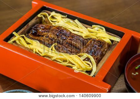 Unagi Don - Grill Eel Rice In Red Box With Clear Soup.