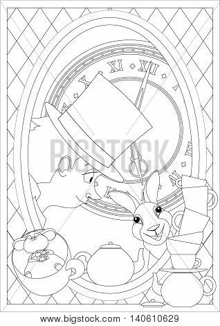 Coloring Page. Alice in Wonderland. Mad tea party. Hatter Dormouse
