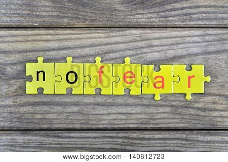 Puzzle pieces with word no fear