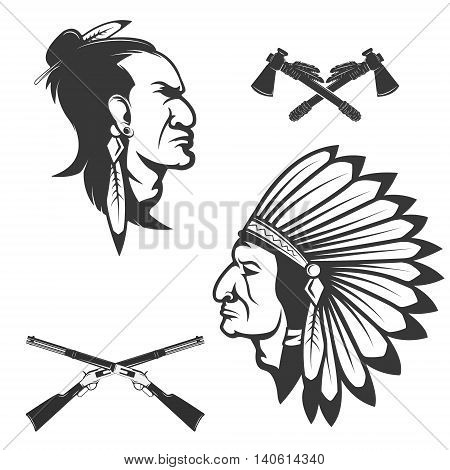 Set of american native chief heads. American indians headdress and weapon. Crossed tomahawks. Design elements for logo label emblem sign badge brand mark.