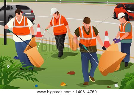 A vector illustration of community cleaning on the roadside