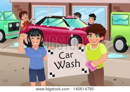 A vector illustration of kids holding a car wash poster