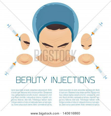 Beauty facial injections for men. Anti-ageing therapy process for facelift and wrinkles. Male rejuvenation treatment infographics. Vector illustration.