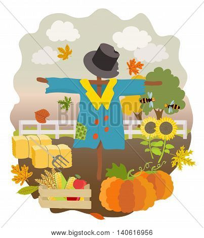 cartoon scarecrow pumpkins sunflowers drawer with cucumber wheat apples hay bales pitchfork falling autumn leaves fence and trees. vector illustration