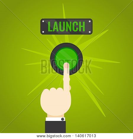 Businessman pressing launch button on green background. Social media button. Start up business concept. Vector illustration.