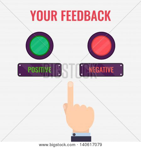 Male hand pointing to positive and negative review buttons. Customer feedback design template. Rating evaluation vector symbol. Reviews and feedback concept.