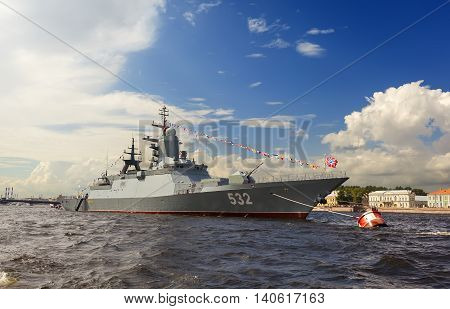 ST. PETERSBURG, RUSSIA - JULY 31, 2016: Photo of Warships in the parade on the day of the Navy.