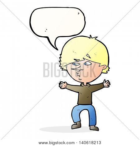 cartoon suspicious man with speech bubble