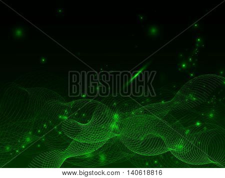 Black and green neon abstract background with intertwined lines and glowing dots