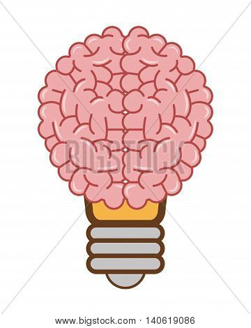 flat design human brain lightbulb icon vector illustration