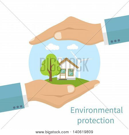 Environmental protection. Hands holding eco-friendly earth with house tree and windmill. Protection ecology concept. Vector illustration flat design style. Banner.