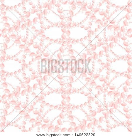 Nacreous pearl pink jewelry seamless pattern vector. Chaplet bead background.