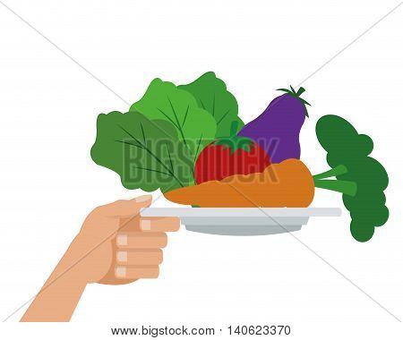 flat design assorted vegetables icon vector illustration